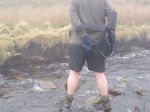 12/2/11 Trying to cross a stream just below Force Gill Ridge