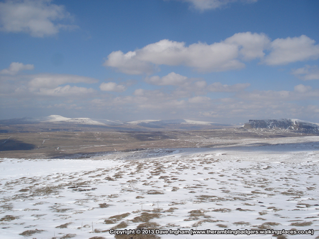 Ingleborough, Whernside and Pen y Ghent from Knowe Fell