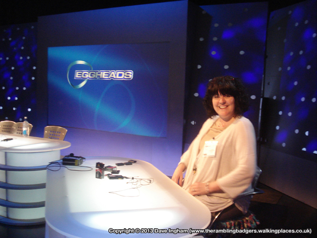 Sandra trying out Jeremy Vine's chair